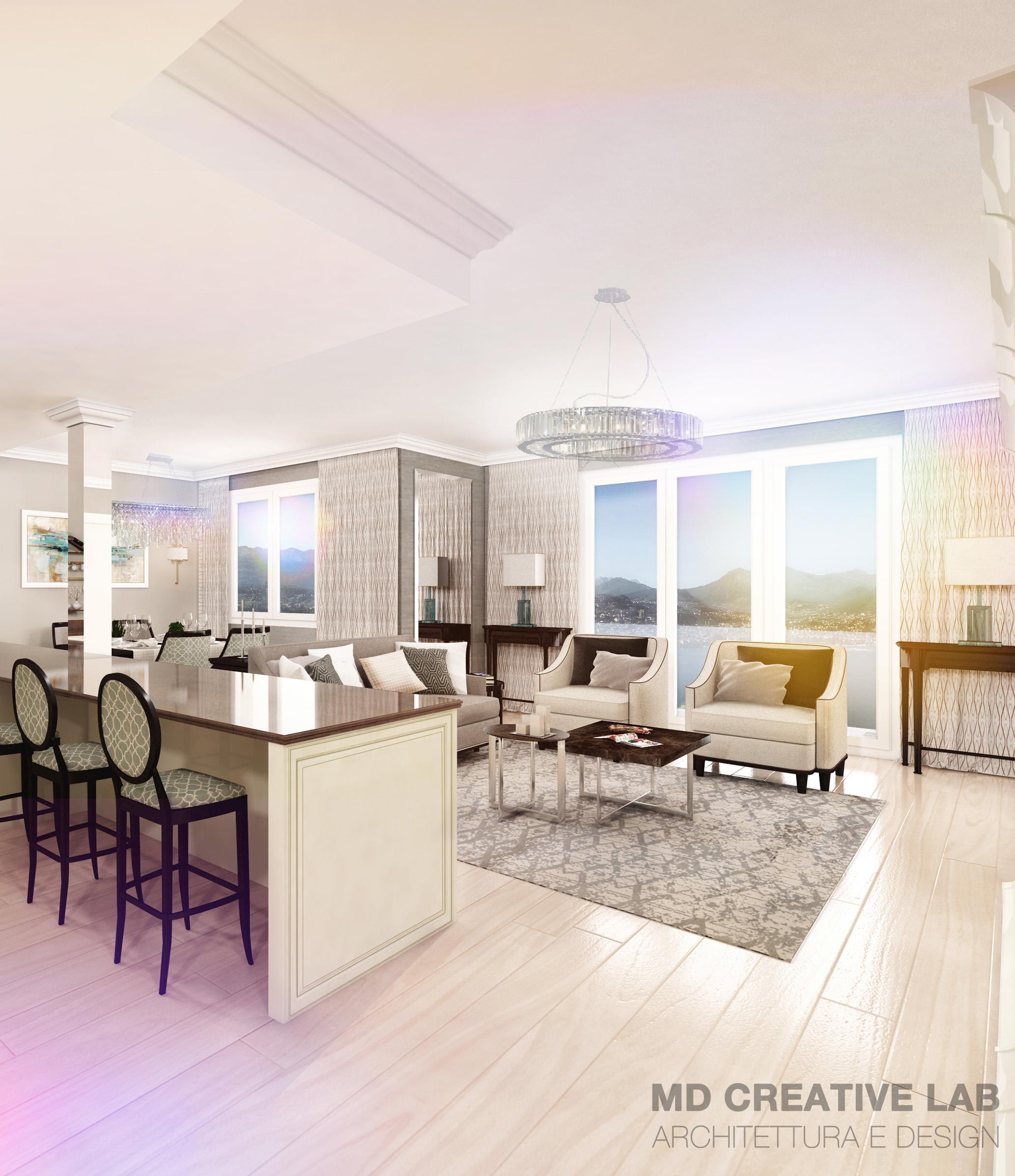 MD Creative Lab Lugano Interior Design Living room Kitchen Emerlad Living Lugano Paradiso vertical